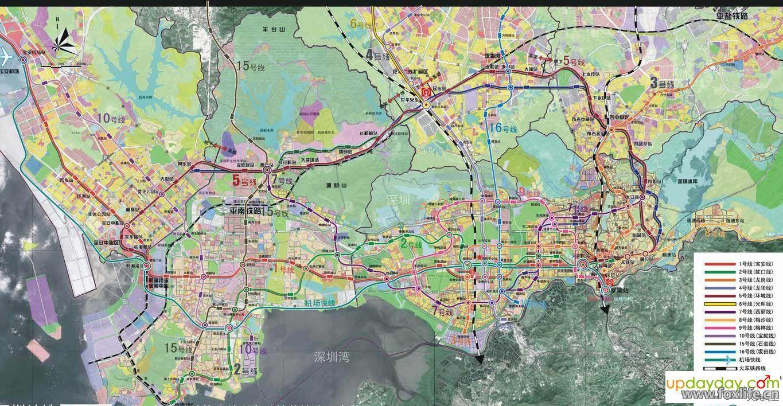 深圳地铁16条线路总规划图